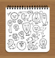 notebook design lions family sketch vector image vector image