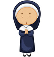 Nun in blue outfit vector image vector image
