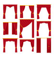 red curtains set flat vector image vector image