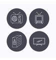 Retro TV radio and PC case icons vector image vector image
