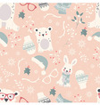 Seamless Merry Christmas pattern with cute animals vector image vector image