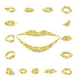 set gold lips girl silhouette vector image