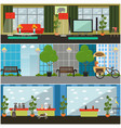 set pets interior flat posters banners vector image