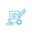 signing the contract linear icon concept signing vector image vector image