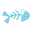 silhouette fish death with its spine and tail vector image