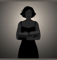 silhouette girl reading holding a book vector image vector image