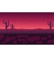 Silhouette of cactus in field vector image vector image