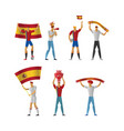spain football fans cheerful soccer vector image vector image