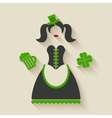 St Patricks Day girl vector image