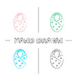 swaddled baby hand drawn icons set vector image