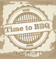 time to bbq grunge background with label vector image vector image