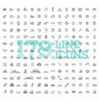 transport icons thin line design vector image vector image