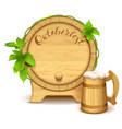 wooden barrel and full wooden beer mug vector image vector image