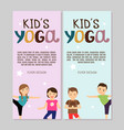 yoga flyers with boys and girls vector image vector image