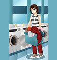 young woman doing laundry vector image vector image