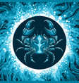 zodiac sign of cancer in water circle vector image