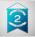 blue pennant with inscription two years vector image