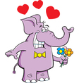 Cartoon Elephant with Flowers vector image