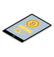 bitcoin wallet app on tablet pc vector image