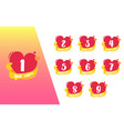 1 day count left heart shape valentine badge set vector image