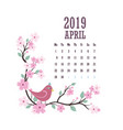 2019 calendar with colorful birds and flowers vector image vector image