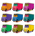 9 Colorful Trucks vector image vector image