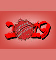 abstract number 2019 and a cricket ball from blots vector image vector image