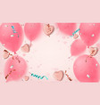 abstract pink background with realistic candy vector image