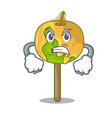 angry candy apple mascot cartoon vector image vector image