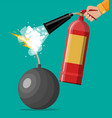 ball bomb to explode and hand with extinguisher vector image