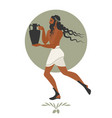 bearded man with mane in the style of ancient vector image vector image