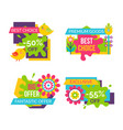best choice sale labels set birds blooming flowers vector image vector image