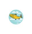 Brown Trout Jumping Circle Cartoon vector image vector image
