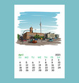 calendar sheet april month 2021 year berlin vector image vector image
