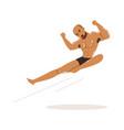 cartoon character of wrestler in flying kick vector image vector image