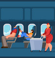 cartoon color characters people and plane interior vector image vector image