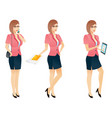 cartoon sexy young business woman or secretary vector image vector image