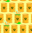Chemical waste dump Seamless pattern with barrels vector image
