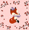 christmas and new year greeting card with fox vector image vector image