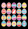 color easter eggs isolated on black background vector image vector image