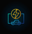 colorful electric car linear concept icon on dark vector image vector image