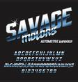 cool italic typeface savage motors vector image vector image