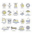 cruise travel or summer vacation line icons vector image