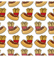 delicious hot dog with tasty fries french vector image