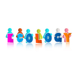 Ecology Colorful Title with Paper People vector image