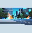 empty night street road with crosswalk city vector image