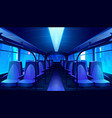 empty school bus interior at night vector image vector image