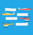 flying planes and helicopters with banners vector image vector image