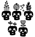 Funny skulls with flowers vector image vector image