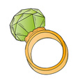 gold ring with big stone vector image vector image